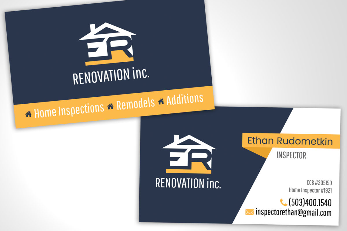 Business card for home inspector arkie media ethan has recently started his transition from contractor to home inspector in salem oregon he reached out to me to have a business card designed colourmoves Choice Image